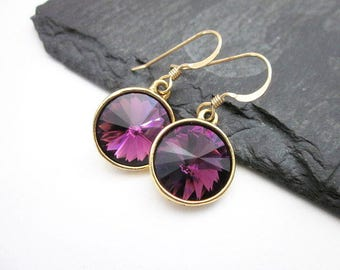 Amethyst Crystal Dangles -- Dark Purple Earrings -- Round Purple Dangle Earrings -- Red Purple Crystal Earrings -- Amethyst Swarovski Drops