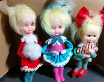 vintage  Christmas pixie ornaments 1950's made in japan set of 3