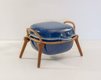 1950s Enameled Blue Dutch Oven by Jens Quistgaard