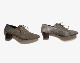 Vintage Leather Oxfords 6.5 / Suede Leather Oxfords / Joan and David Shoes / Oxford Heels / Lace Up Heels / Italian Oxfords