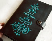 Leather Journal - READY TO SHIP - Not All Those Who Wander Are Lost - J.R.R. Tolkien - Black and Turquoise Wolf Bear Diary - Handmade