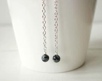 Long chain earrings snowflake obsidian earrings long dangle earrings gray stone earrings for women
