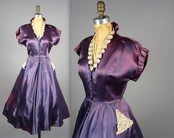 1950s Purple satin dress • vintage 50s dress • XS evening dress