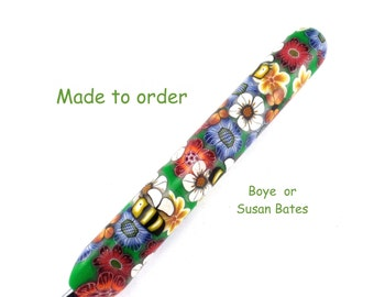 Crochet Hook,  Susan Bates or Boye Polymer Clay Covered Crochet hook, Flowers, Bees, and Butterfly