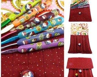 Gnome Crochet Hook Case with Set of Susan Bates Crochet Hooks, Handmade with Polymer Clay