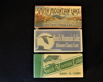 lake house decor Smith Mountain Lake Virginia cabin decor fishing lure boxes