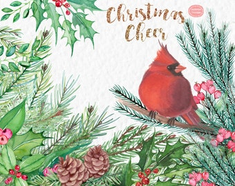 Christmas Clipart: Christmas Cheer  Watercolor Christmas Clipart, Pine Cones, Holly, Pine Branches, Cardinal, Holiday Clipart,
