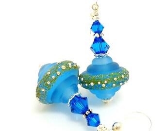 Blue Earrings, Baroque Earrings, Lampwork Earrings, Glass Earrings, Lampwork Jewelry, Unique Earrings, Glass Beads Jewelry, Dangle Earring