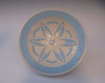 Sky Blue Mandella Sgrafitto Hand Carved Serving Bowl Candy Dish - Handmade - in Stock