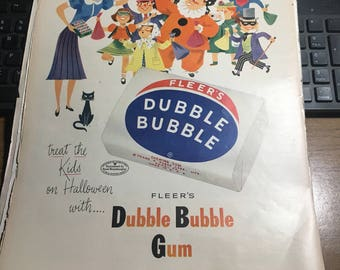 1954 Fleer bubble gum ad. 10x14 large graphic ad. Not perfect but ready to be framed for kitchen, man cave or laundry room.