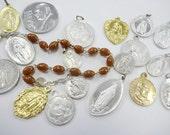 Vintage Religious Charms Medals Pendants Saints Aluminum Metal Estate Keepsakes
