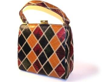 Vintage 1940s Harlequin Snake, Lizard Reptile Kelly Leather Purse Handbag