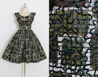 Vintage 50s Dress | 1950s glitter flocked dress | green white cocktail dress | xs | 5920