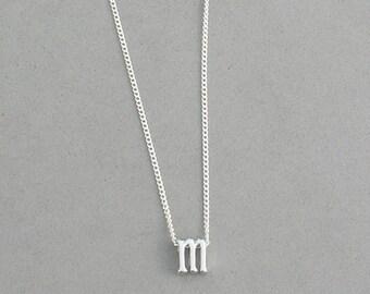 Rhodium Initial m Necklace