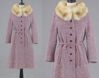 Vintage 1960s Coat, Fox Fur Russian Princess Coat, 60s Coat, Fur Trim Purple Wool Coat