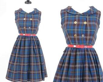 SALE 50s Dress, Vintage 1950s Dress, Blue Plaid Dress, 50s Day Dress, Medium