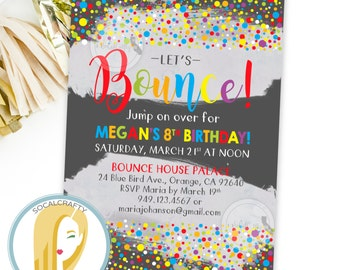 Jump Birthday Party Invitation, Bounce Party Invite, Bounce House, Trampoline, Bright, Watercolor, DIY, Printed and Printable Invitations
