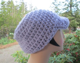 Purple Chunky Newsboy Hat by SuzannesStitches, Chunky Newsboy Hat, Brimmed Slouchy Hat, Teen Newsboy Hat, Adult Newsboy Hat, Newsboy Hat Men