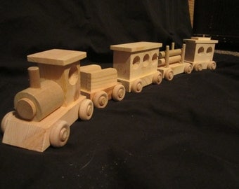Wooden Toy Train engine coal passenger log caboose magnet handmade toddler boy