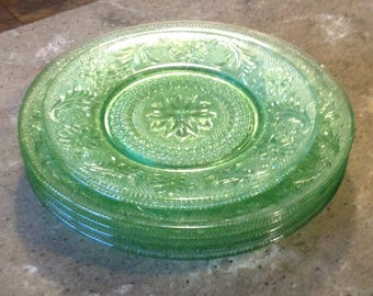 Vintage Indiana Glass Sandwich Tiara Chantilly Green Glass Dinner Plate and Salad Plate Set