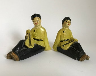 Mid Century 1950's Musical Chinese Couple Plaster Figurines
