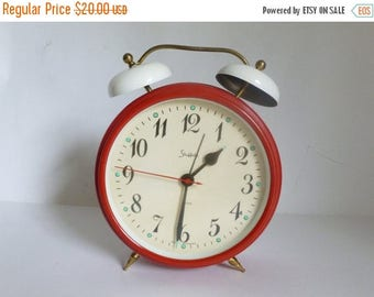 "Vintage 1970's Large 10.25"" West Germany Sheffield Red Metal Alarm Clock NEEDS REPAIR"