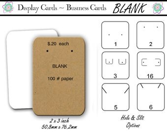 Blank Earring Cards, Jewelry Display Cards ,Business Cards,  Blank, Earring Holders, Card Display, Jewelry Holders, 2x3 inch