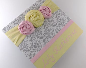 Girl Baby Book Baby Memory Book Personalized Scrapbook Baby Shower Gift 122 8.5x11 Pages Gray Damask with Pink and Yellow Chic Flowers