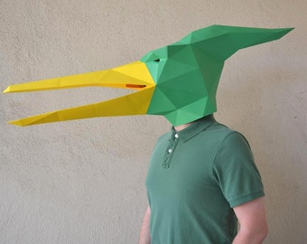 Make Your Own Pterodactyl / Pteranodon Dinosaur Mask with just Paper and Glue!