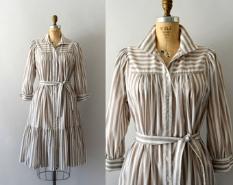 1970s Vintage Dress - 70s Striped Cotton Dress