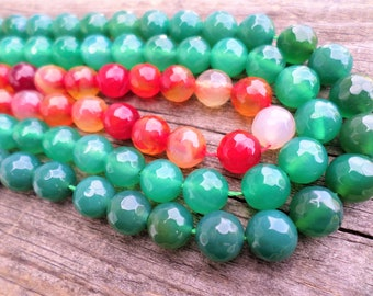 Faceted Agate Rounds 8mm 15 Inch Strands Choose From Light Green, Dark Green or Orange