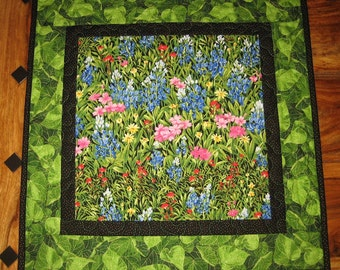 "Wildflower Quilted Table Topper, Quilted, Pink Blue Green, 21 x 21"" 100% cotton fabrics"