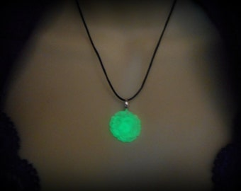 Glow in the Dark - Rose, Flower, Peony in Green - Heart Necklace - 8 Hour Glow!