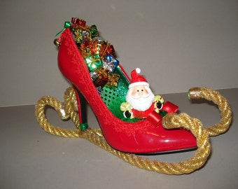 Santa's Sleigh holiday high heel candy dish