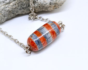 Happy Pill Necklace, Chill Pill Necklace, Blue and Red Striped Necklace, Capsule Necklace, Pill Jewelry, Kitsch Necklace, Novelty Nurse Gift