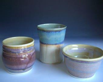 Hand thrown porcelain pottery jar suite of 3  (JS-4)