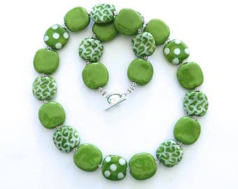 Kazuri Beaded Necklace, Fair Trade, Green and White Ceramic Necklace