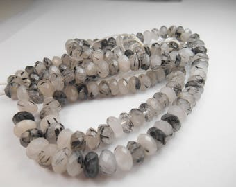 Semi Precious Gemstone,  Tourmilated Bead, Faceted Rondelle Bead, 8x5mm various counts
