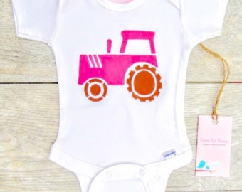 Kids - Girl - Farm Tractor - Construction Truck - Toddler T-Shirt or Baby Onesie