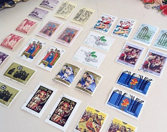 30 Christmas Vintage Postage Stamps Australian in Pairs - Paper Ephemera - Resin Jewellery Mixed Media Collage Paper Crafts