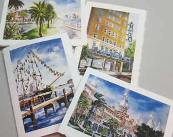 Tampa Florida Landmarks, 4 cards Assortment 5 x 7 Note cards by watercolorsNmore
