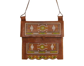 Tooled & Embroidered 1970s Leather Boho Bag | Vintage Fold Over Square Cross Body Bag