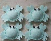 4 Handmade Felt Felties Puffy Crab Appliques - Aqua