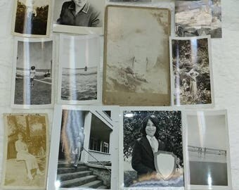 Collection of 14 vintage old photos for your crafting projects or instant family