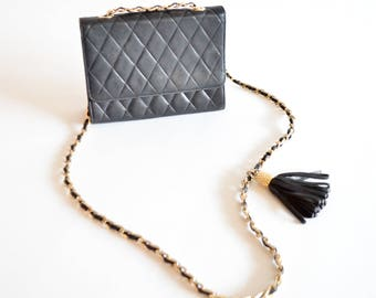 Vintage 1980s QUILTED leather chain purse