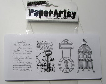 Collage rubber stamp