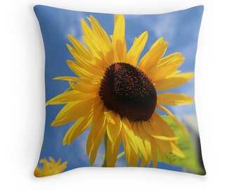 Flower Pillow Cover- Sunflower Pillow Case, photography pillow cover, cheerful home decor, blue and yellow pillow cover, bright fall decor