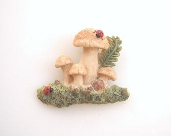 Mushroom Brooch Hand Painted Clay pin (A) vintage style Jewelry 70's Gift for Grandmother