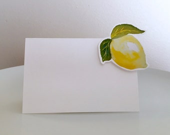 Lemon - Place Card - Escort Card - Watercolor lemon Wedding Decor - Lemon Paper Goods