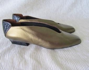NOS Shoes, Flats, Bronze Metallic, Croc, Slip Ons, Low Heel, Stuart Weitzman 1990 Leather, Made in Spain, Vintage